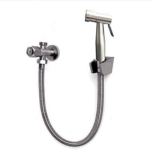 LONGWDS Kit de ducha de mano para bidé de baño, ducha de pared, válvula de limpieza trasera, de acero inoxidable, accesorio de ducha