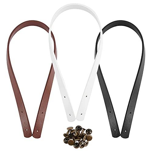 PandaHall 3 pares de asas de piel sintética de 60 cm, 3 colores, correas de cuero para monedero, asas de repuesto con 15 juegos de remaches accesorios para bolsas de hombro, color blanco/negro/marrón