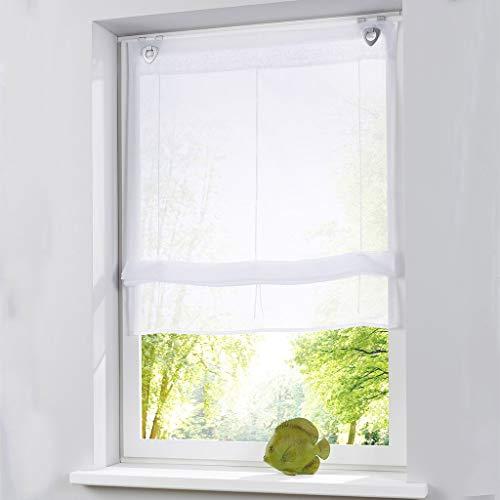 Eastery 1 Stück Raffrollo Für Küche Und Balkon Gardinen Einfaches Aufhängen Einfacher Stil Polyester Weiß (Breite 120Cm Höhe 150Cm) (Color : Colour, Size : B 100/H 150Cm)