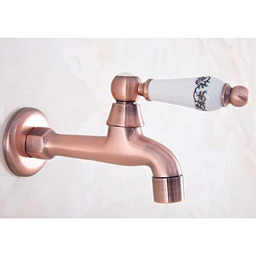 Grifo de la piscina de la fregona del baño de la manija de cerámica de latón de cobre rojo antiguo/grifo de agua del jardín/grifos de agua del fregadero de la ropa