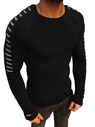 Taoliyuan Mens Sweater Winter Ribbed Knit Slim Fit Striped Casual Long Sleeve Lightweight Pleated Pullover Sweater Black