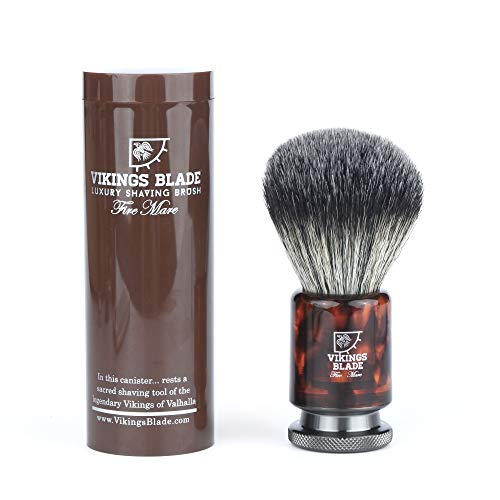 VIKINGS BLADE 'Fire Mare' Luxury Shaving Brush, Heavy Gunmetal Steel + Faux Tortoise Acrylic