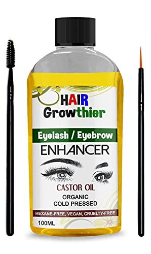 Aceite de ricino orgánico 100% puro para pestañas cejas crecimiento del cabello cuidado corporal (100 ml)