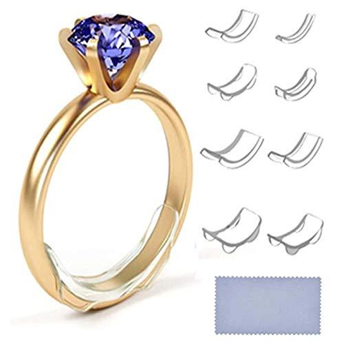 HONESFRIENWL 8Pcs / Set Ring Re-Sizer 8 Größen Clear Ring Sizer Adjuster Unsichtbarer Ring Sizer Resizer Fit für lose Ringe Verschiedene Größen von Ring Sizer