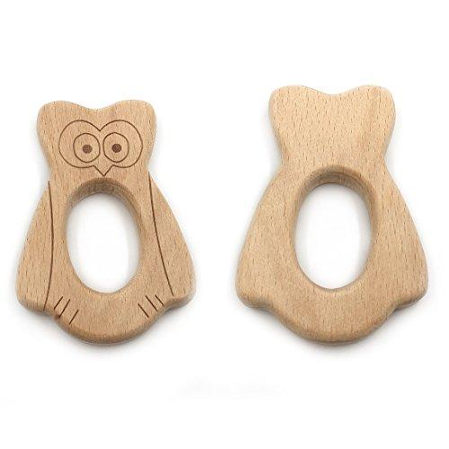 Coskiss 10PCS Mordedor de madera natural para bebé Colgante de dentición de béisbol de madera para collar/pulsera Juguete de enfermería Baby Play (10PCS)