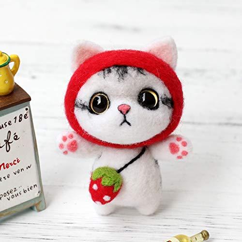 Luluspace Filzwolle Set Trockenfilzen Nähset Märchenwolle Anfänger Set Mit Filznadeln Werkzeug Starter Kit Für Nadel Filz DIY Handwerk Weihnachten Puppe Deko - Katze Puppe