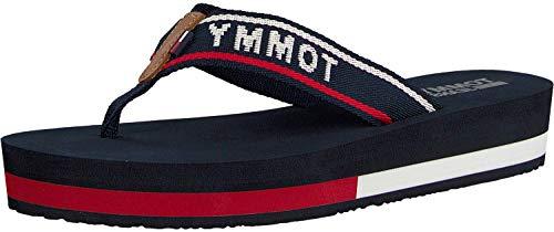 Hilfiger Denim Damen Jeans MID Beach Sandal Zehentrenner, Blau (Tommy Navy 406), 39 EU
