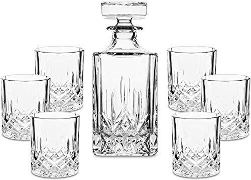 GAOXIAOMEI Juego De Decantador De Whisky De Cristal Noble - Juego De Decantador De Licor Hecho A Mano con 6 Vasos De Whisky para Hombres