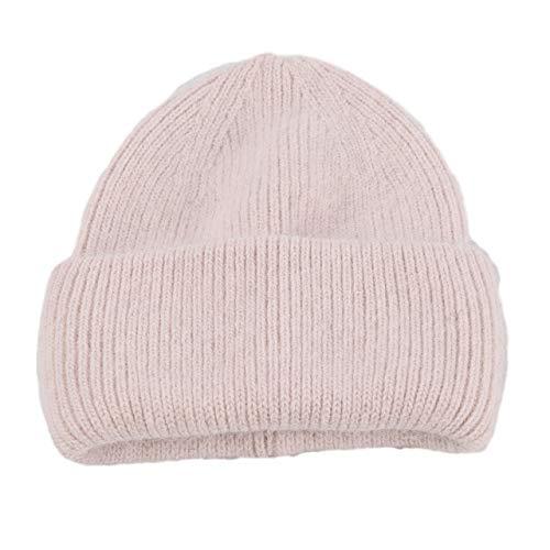Sombrero de Invierno Sombreros de Invierno para Mujer Moda cálido Beanie Sombreros Mujeres Sólido Tapa para la Cabeza para Adultos-Light Pink-54cm-60cm
