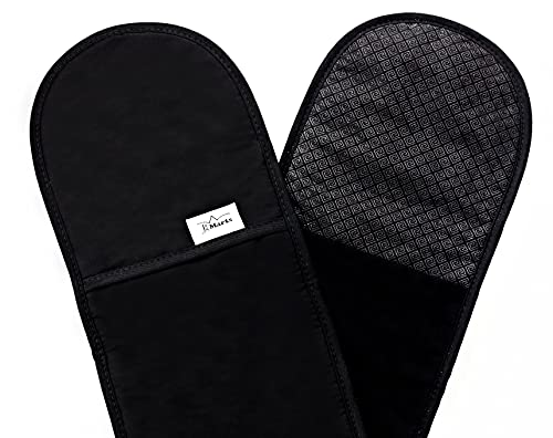 J&A MARTS Oven Gloves - Heat Resistant Double Ovens Mitt With Non-Slip Silicone Design For Perfect Grip - Potholders For Kitchen, Baking, Grilling, Cooking, Barbecue (Black)