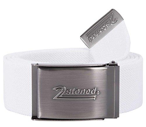 2Stoned Stretch-Gürtel elastisch Klappschnalle Speed, Weiß, One Size, 130cm - 150cm dehnbar, für Damen und Herren