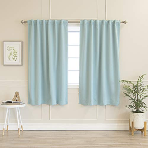 """Best Home Fashion Thermal Insulated Blackout Curtains - Back Tab/Rod Pocket - 52"""" W x 63"""" L - Turquoise (Set of 2 Panels)"""