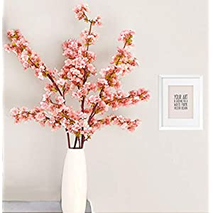 Artificial Cherry Blossom Branches Flowers Stems Silk Tall Fake Flower Arrangements for Home Wedding Decoration,39 Inch