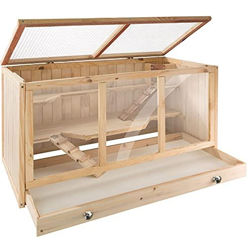 TecTake 403230 Nagerkäfig aus Holz mit Häuschen, Bewegungsfreiheit durch mehrere Etagen, aufklappbares Dachgitter, Schaufenster aus Kunststoffglas