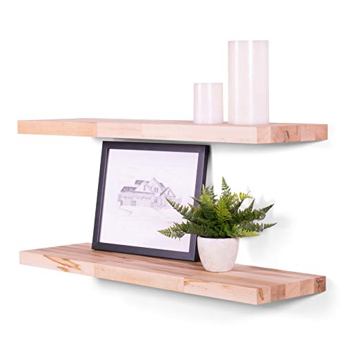 DAKODA LOVE Floating Shelves | Butcher Block | Solid Hardwood | Premium Craftsman Quality | Easy Hidden Bracket Wall Mount | Set of 2 (Natural, 24' L x 8' D)