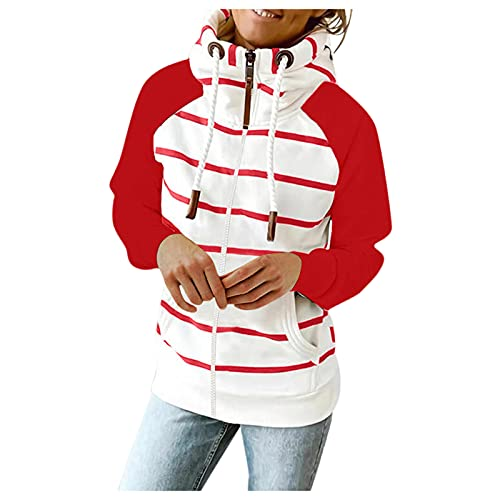 Women Full Zip Up Hoodie Sweatshirt Long Sleeve Causal Striped Oversized Jacket with Pockets for Teen Girl Outerwear