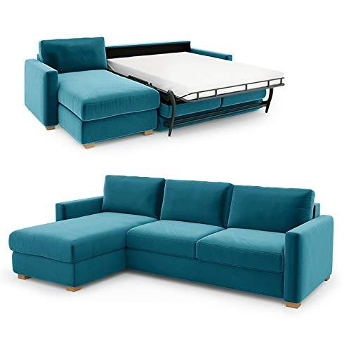 place to be. Sofá cama de 140 cm de ancho con cajón de cama de 3 plazas, sofá con función de dormir plegable, cama de invitados con diván a la izquierda, color azul petróleo