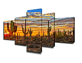 Native America Decor Arizona Desert Paintings for Living Room Saguaro Cacti Mountains Pictures 5 Piece Canvas Wall Art Modern Artwork Framed Gallery-wrapped Stretched Ready to Hang 50  Wx24  H