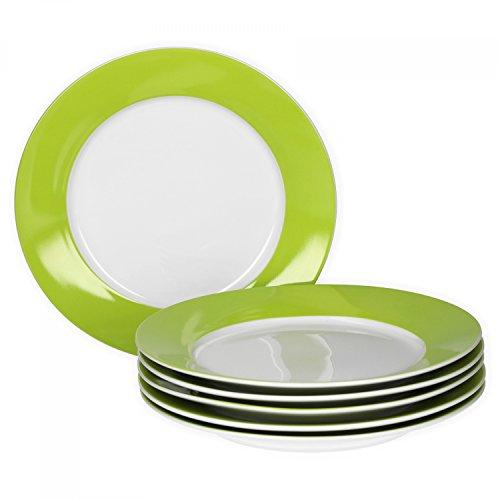 Van Well 6er Set Frühstücksteller Serie Vario Porzellan - Farbe wählbar, Farbe:grün