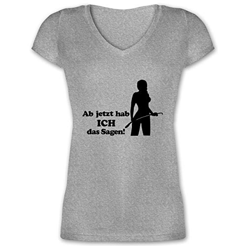 JGA Junggesellinnenabschied - Ab jetzt hab ich das Sagen - XS - Grau meliert - reitgerten - XO1525 - Damen T-Shirt mit V-Ausschnitt