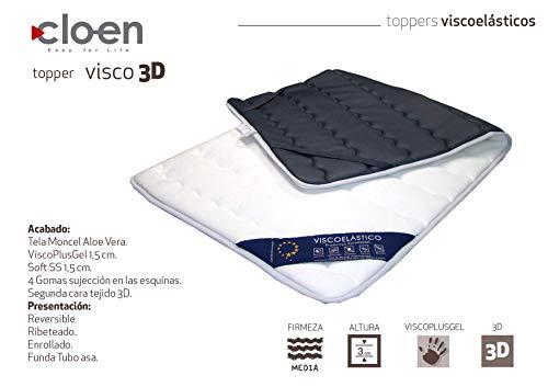 CLOEN Topper Visco Soft 3D. Primera Cara Tejido Strech con Aloe Vera y Cara Posterior con Tejido 3D Air.Visco Plus Gel de 1,5 cm (90_x_190_cm)