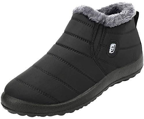 Scurtain Mens Winter Fur Ankle boots Waterproof Snow Non-slip Booties Black 10.5 Women/9 Men