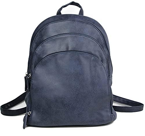 irisaa Mochila para mujer, bolso de día para el colegio, bolso de hombro para mujeres y niñas, azul marino., Einheitsgröße