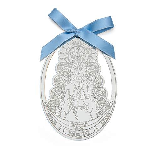 Medalla cuna carrito bebe virgen rocio azul 8x11 plata