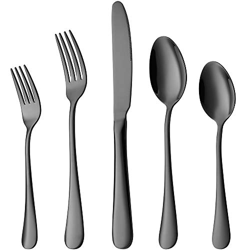 Black Silverware, Devico 20-Piece Stainless Steel Metal Flatware Utensils Cutlery set for 4, Mirror Polished, Dishwasher Safe
