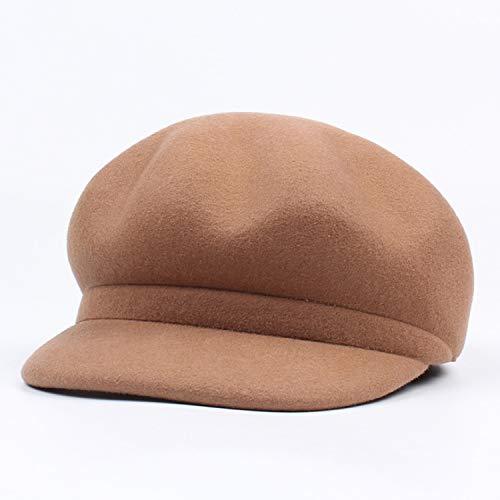 XFGBTJKYUT XFGBTJKYUT Damenhut Wolle Balelet Frühling und Herbst Winter Achteckiger Hut Einfache Mütze (Color : Camel, Size : Adjustable)