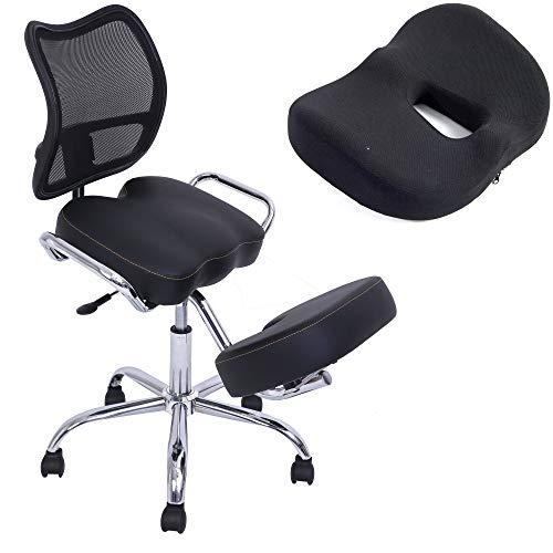 Kqueo - Silla ergonómica para el dolor de espalda, asiento de oficina profesional, color negro con cojín viscoelástico