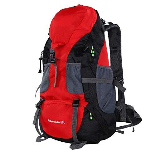 VGEBY1 Trekking Bag, 50L Waterproof Sports Backpack Hiking Mountaintop Motorcycle MTB Ski Unisex Backpack (Red)