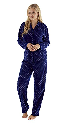 Lady Selena Soft Fleece Long Manche Button Front /& Pockets Dressing Gown Robe