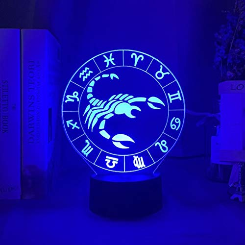 JUNLIS Twelve Constellation Night Light 7 Color Change Led Kids Bedside Action Figure Fixtures 3D Visual Anime USB Desk Touch Base with Ir Control Lamp Child Toy Gift Sleep Night Light Gift