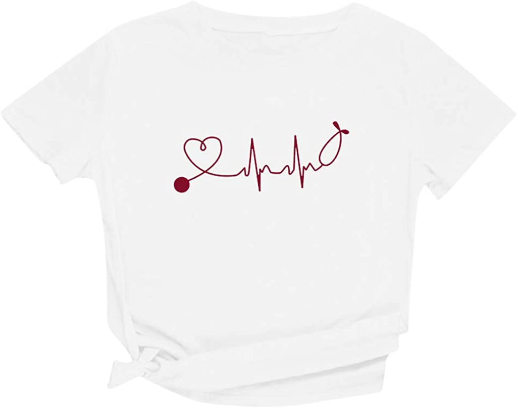 Shirts for Women Yuaekjes Women's Letter Graphic Printed T-Shirt Round Neck Short Sleeve Loose Fit Blouse Tee Tops Tunic