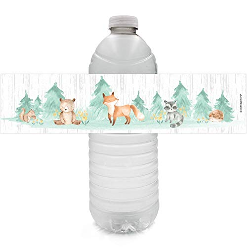 Woodland Baby Shower Water Bottle Labels - Watercolor Creatures - 24 Stickers