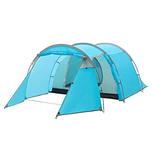 ZXGQF 4 Man Tent Waterproof, Family Tunnel Tent Lightweight Camping Tent with Sewn-in Groundsheet Easy To Set Up, for Outdoor, Hiking Mountaineering 420 * 200 * 130CM (sky blue)