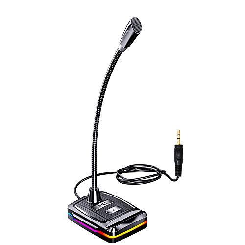JAMAN Micrófono para ordenador, micrófono de diseño de cuello de cisne 360, conector jack de 3,5 mm/conector USB, para vídeo de voz, conferencias, reuniones con zoom, clase en línea