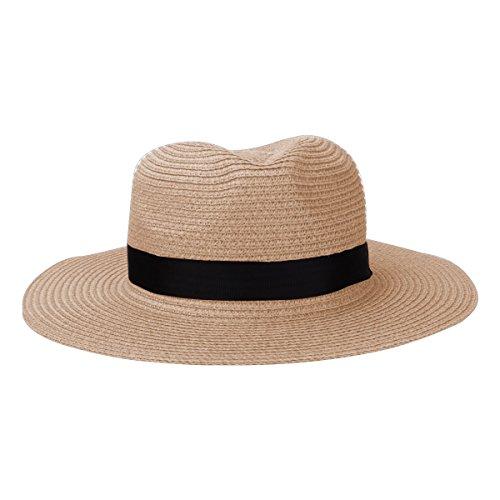 Sharbay Stroh Panamahüte, Unisex Strand Sonnenhüte UV Schutz Faltbare Papier gewebte Hüte mit Band (Beige)