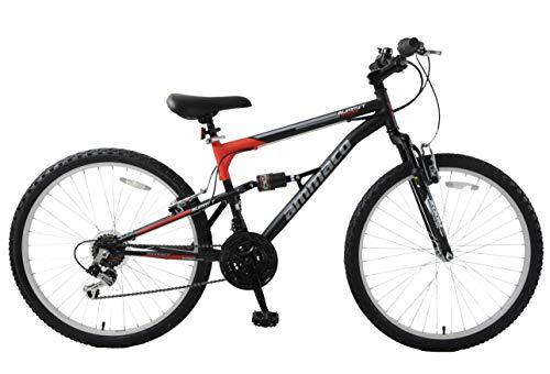 Ammaco. Summit 26' Wheel Dual Full Suspension Mens Mountain Bike Black Red 16' Frame 18 Speed