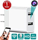 Spy Camera Wireless Hidden Camera WiFi Charger with Remote View - 1080P HD Nanny Cam - Spy Camera Wireless - USB Mini Spy Camera Charger - Security Camera Motion Activated - iOS Android, White