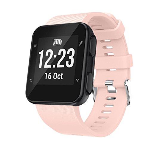 Malloom Reemplazo pulsera reloj pulsera banda correa Silicagel correa suave para Garmin Forerunner 35 Watch (Rose)