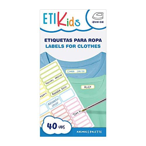 ETIKIDS 40 Etiquetas para ropa personalizables para la guardería y colegio, de colores, (Animales)