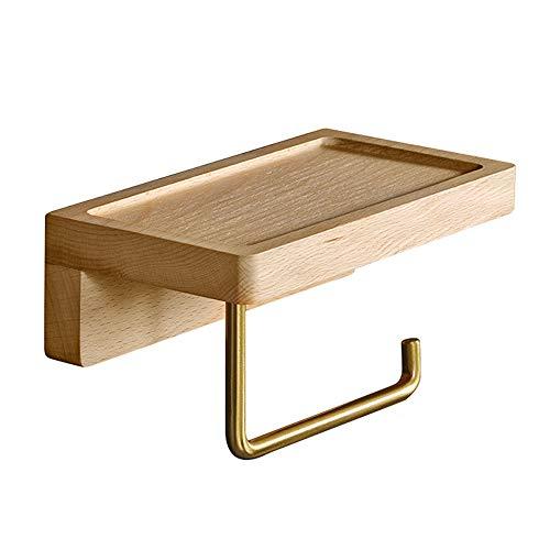Affogato - Portarrollos de papel higiénico de madera de haya de latón montado en la pared sin perforaciones con ranura para estante de almacenamiento (grande, 28 × 10 × 6 cm)