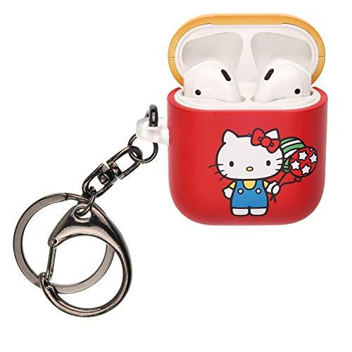 Sanrio Line AirPods Case met sleutelhanger sleutelhanger sleutelhouder Harde PC Shell riem gat cover [Front LED zichtbaar] Compatibel met Apple Airpods 1 & AirPods 2, Hello Kitty Balloon