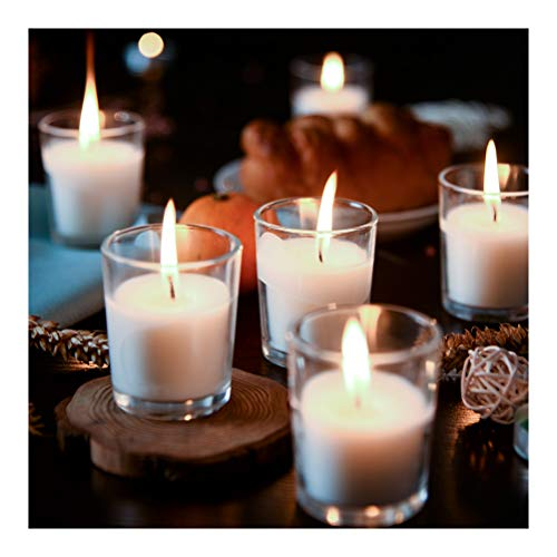 Supreme Lights Nightlights in Glas Votivkerzen Weiß Paraffin, 24 St. 12h Brenndauer, Duftfreie Transparente Kerzen für Geburtstag, Party, Hochzeit, Feier