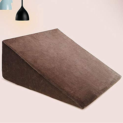 Dfghbn Wedge Pillow Triangular Slope Pads Triangle Pillow Lumbar Support Pillows For The Elderly For Sleep, Reading And After Surgery for Reading and Watching in Bed (Color : Coffee, Size : 60x60cm)
