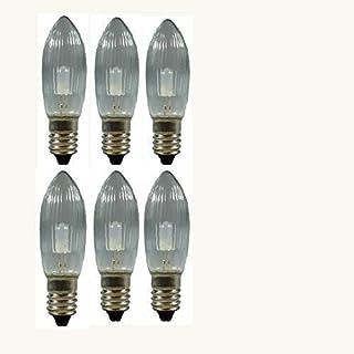 6 Stück LED Spitzkerzen 8-55V, 0,1 Watt, E 10, für Schwibbogen, Pyramide u.s.w.