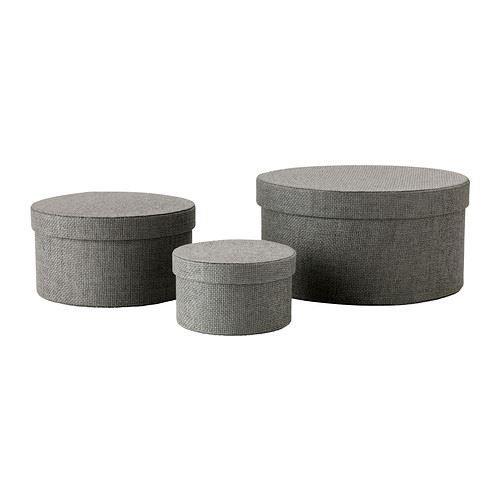 - caja de almacenaje KVARNVIK, juego de 3, color gris