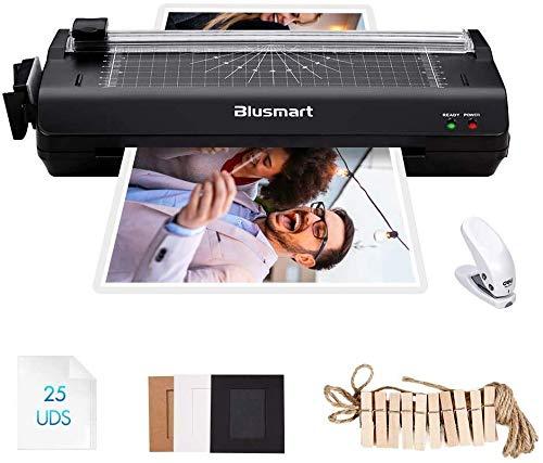 Blusmart A3 6 in 1 Plastificadoras, Laminador de función múltiple con 25 bolsas de laminado, cortador de papel, redondeador de esquina para A3, A4, A5, A6